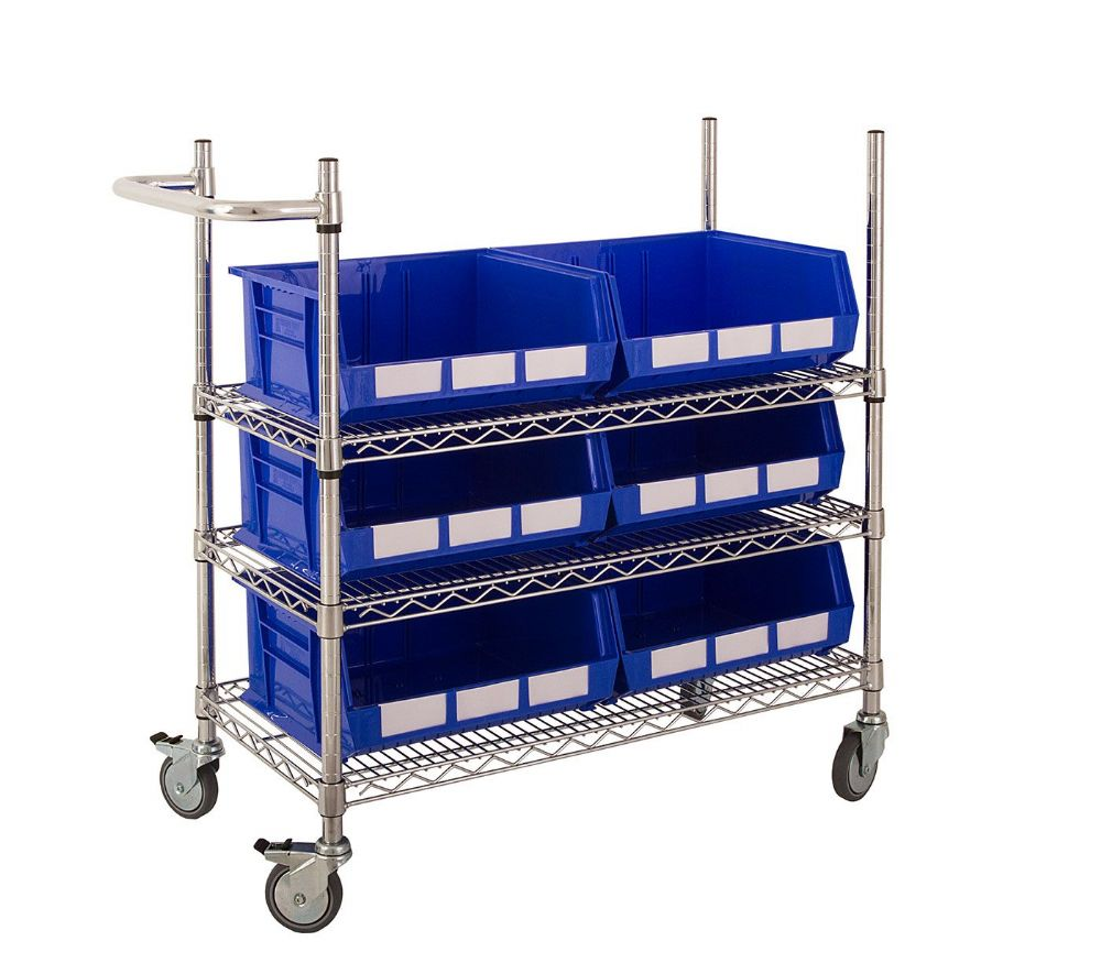 Chrome Trolley with Coloured Bins - Kit E